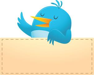 Blue Bird with blank banner