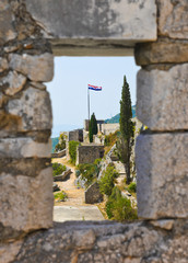 Window at old fort in Split, Croatia