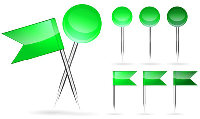 green flag and round pin isolated on white background