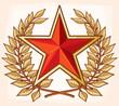 Communist red star and laurel wreath