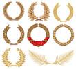 Wreath set (laurel, oak, palm, wheat)