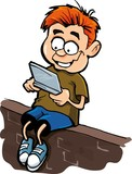 Cartoon of boy playing a hand held computer gamer poster