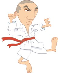 Cartoon of man performing Karate kick