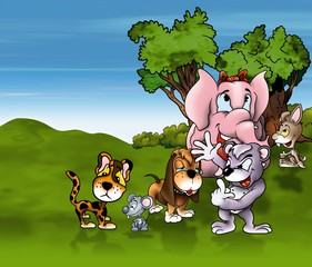 Animals Cartoon - Cheerful Background Illustration