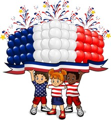 American flag balloons with children