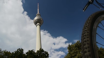 Berlin - TV Tower with disturbing Biker