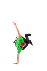 Hip hop breakdancer performing