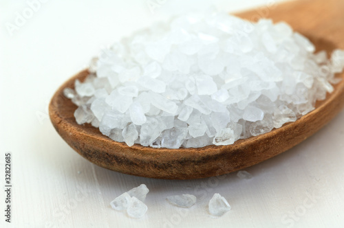 salt in a wood spoon