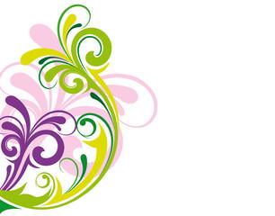 arabesques roses, violettes, et vertes