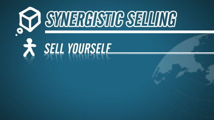 Synergistic Selling video illustration on blue in HD