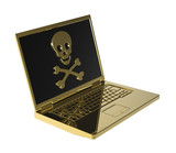 Skull and crossbones on the laptop screen. poster