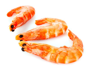 Cooked shelled tiger shrimp isolated on white