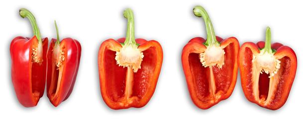 Zerschnittene rote Paprika (Collage)