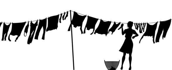 Woman hanging washing