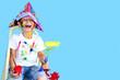 Leinwanddruck Bild - Kind mit Farben