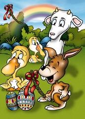 Easter Cartoon - Cheerful Background Illustration, Bitmap