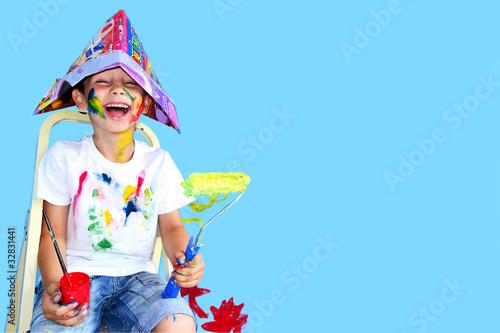 Leinwanddruck Bild Kind mit Farben