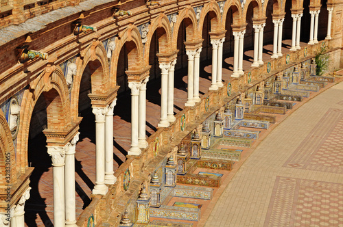 Rich vibrant detail In The Plaza De Espana Seville Spain