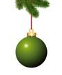 Tannenzweig mit grüne Weihnachtskugel