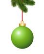 Tannenzweig mit hellgrüne Weihnachtskugel