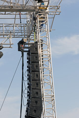 Detail of a stage equipment against the sky