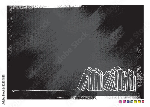 Grunge canvas background, book motive (simple linear drawing)