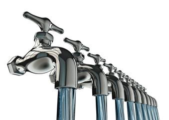 row of taps