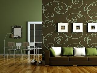 Wohndesign - grünes Wohnzimmer
