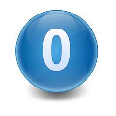 Esfera brillante azul con numero 0