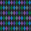 Seamless harlequin pattern background with fabric texture