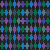 Seamless harlequin pattern background with fabric texture poster
