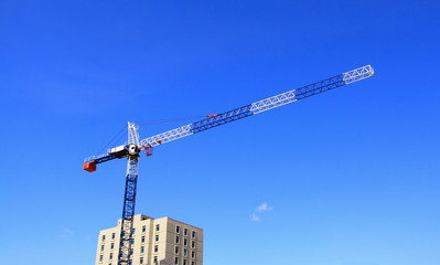crane and blue sky background