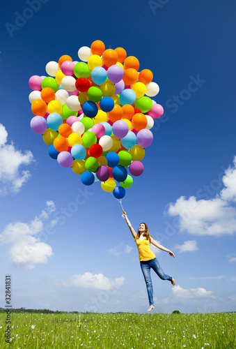 canvas print picture Flying with balloons
