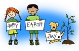 Kids and dog holding HAPPY EARTH DAY signs poster