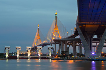 Bridge Circle at night in Thailand