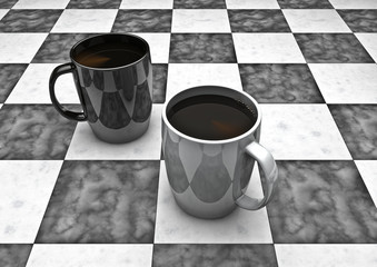 Coffee checkers board game