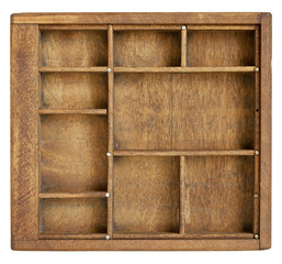small vintage wood  case (typesetter drawer)  with  dividers