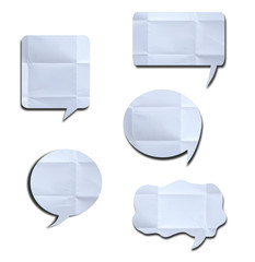 White crumpled speech bubble Paper on white background