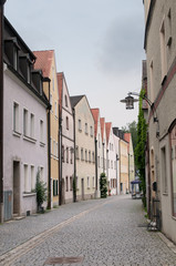 Bavarian colorful houses, narrow street, Germany