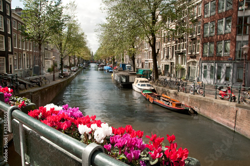 Channel in Ansterdam bridge view, Netherlands
