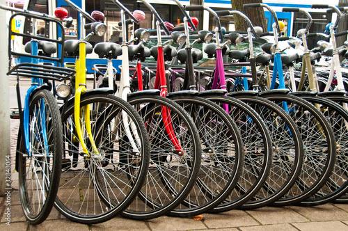 Deurstickers Amsterdam Bikes for rent