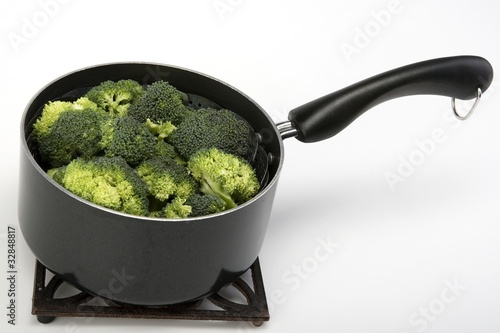 Steamed broccoli in a pot