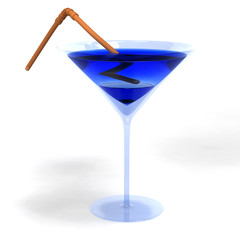 Colored cocktail in glass with brown straw