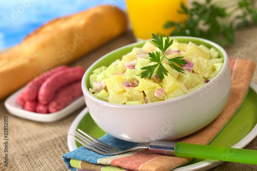 Potato salad seasoned with a mayonnaise dressing