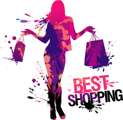 Best shopping, Illustration with  girl and splashes.