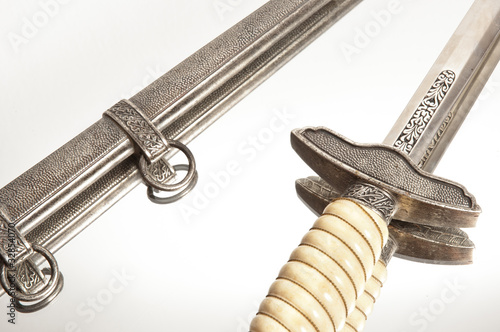 World war knife and engraving on isolated white background