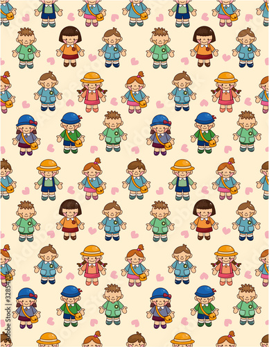 cartoon kid seamless pattern