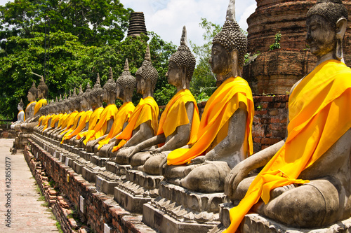 Row of Sacred Buddha in Ayutthaya - 32855077