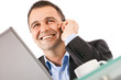 businessman smiling phone