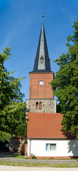 Church in a suburb of Berlin. Village Eiche.
